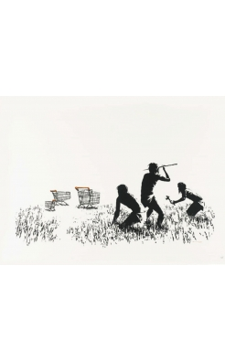 Banksy, Trolley Hunters (Black and White), 2006