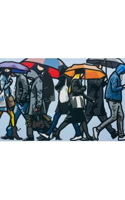 Julian Opie, Walking I the Rain, London, 2015