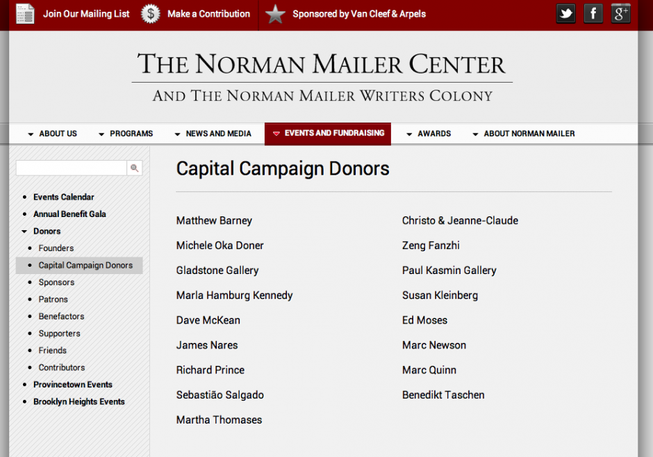 The Norman Mailer Center Campaign Donors
