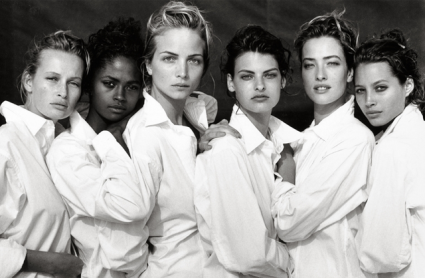 Peter Lindbergh, Estelle Lefébure, Karen Alexander, Rachel Williams, Linda Evangelist, Tatjana Patitz, Christy Turlington, Santa Monica, California, 1988