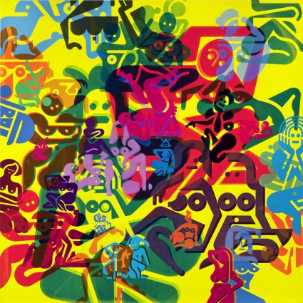 Ryan McGinness, Figures on Yellow Background