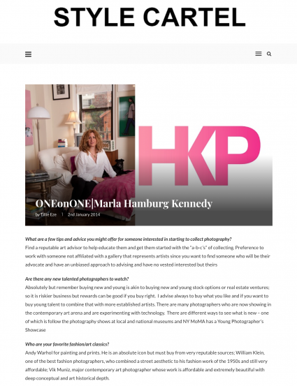 Style Cartel Profile on Marla Hamburg Kennedy