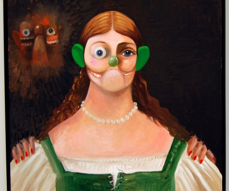 George Condo, Green Dress and Ears