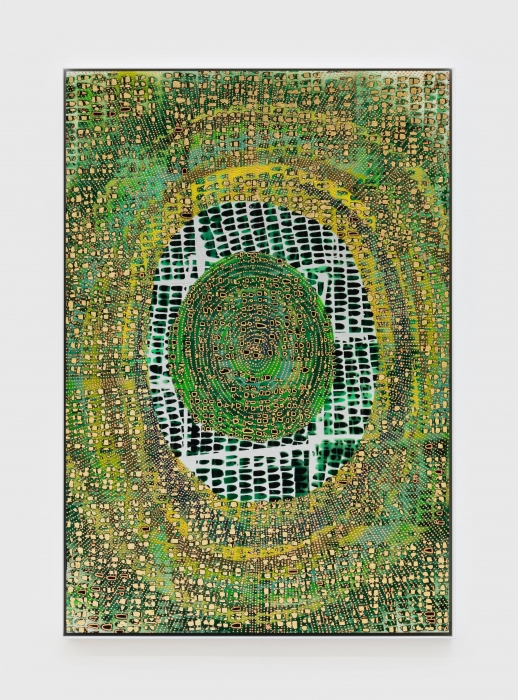 Mindy Shapero, Scar of Midnight Portal (life green, rings inside, radiating out), 2021
