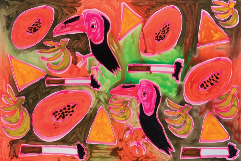 Katherine Bernhardt, Bird and Fruit