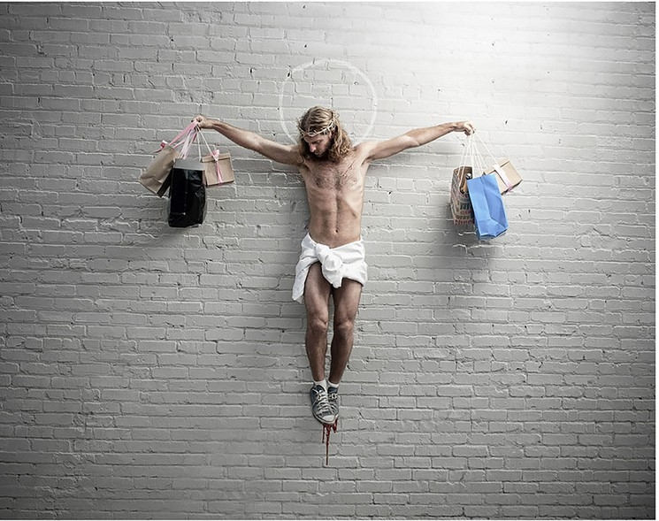 Plastic Jesus, Jesus with Shopping Bags, 2020